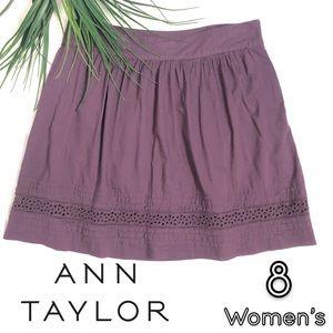 Ann Taylor LOFT purple short flowy skirt 8 women's